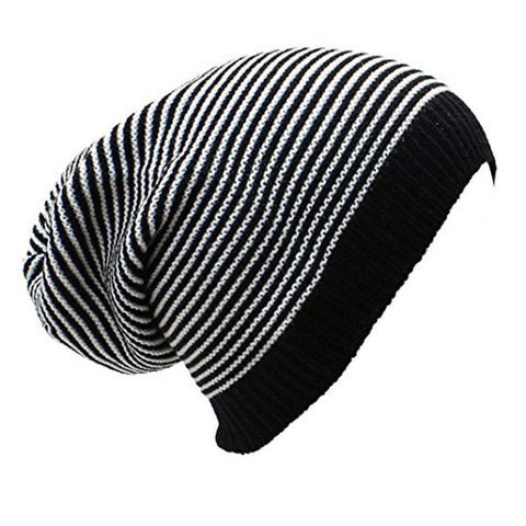 Sun Ben Inc. Men - Accessories - Hats Striped Slouchy Beanie Hat - 9 Colors
