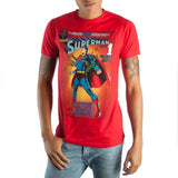 Vintage Superman DC Comic Book Cover Artwork Men's Red Graphic Print Boxed Cotton T-Shirt Maletropolis