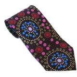 Warrina Designs Men - Accessories - Ties Dreamtime FLowers Black Tie