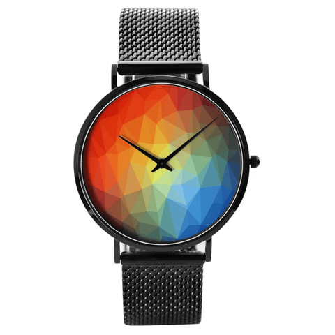Watch Custom Printed Rainbow Prism Waterproof Quartz Watch