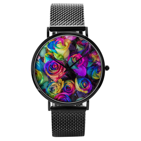 Watch Custom Printed Rainbow Roses Waterproof Quartz Watch
