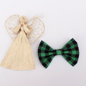 Green plaid bow tie - 3 inch