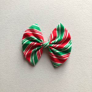 Red and green stripe bow - fan bow 3.5 inch