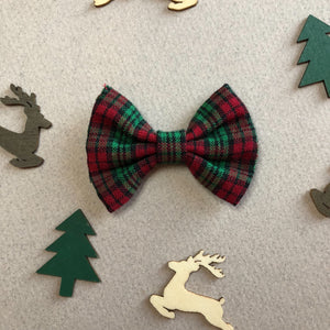 Red green black plaid bow - 2 inch