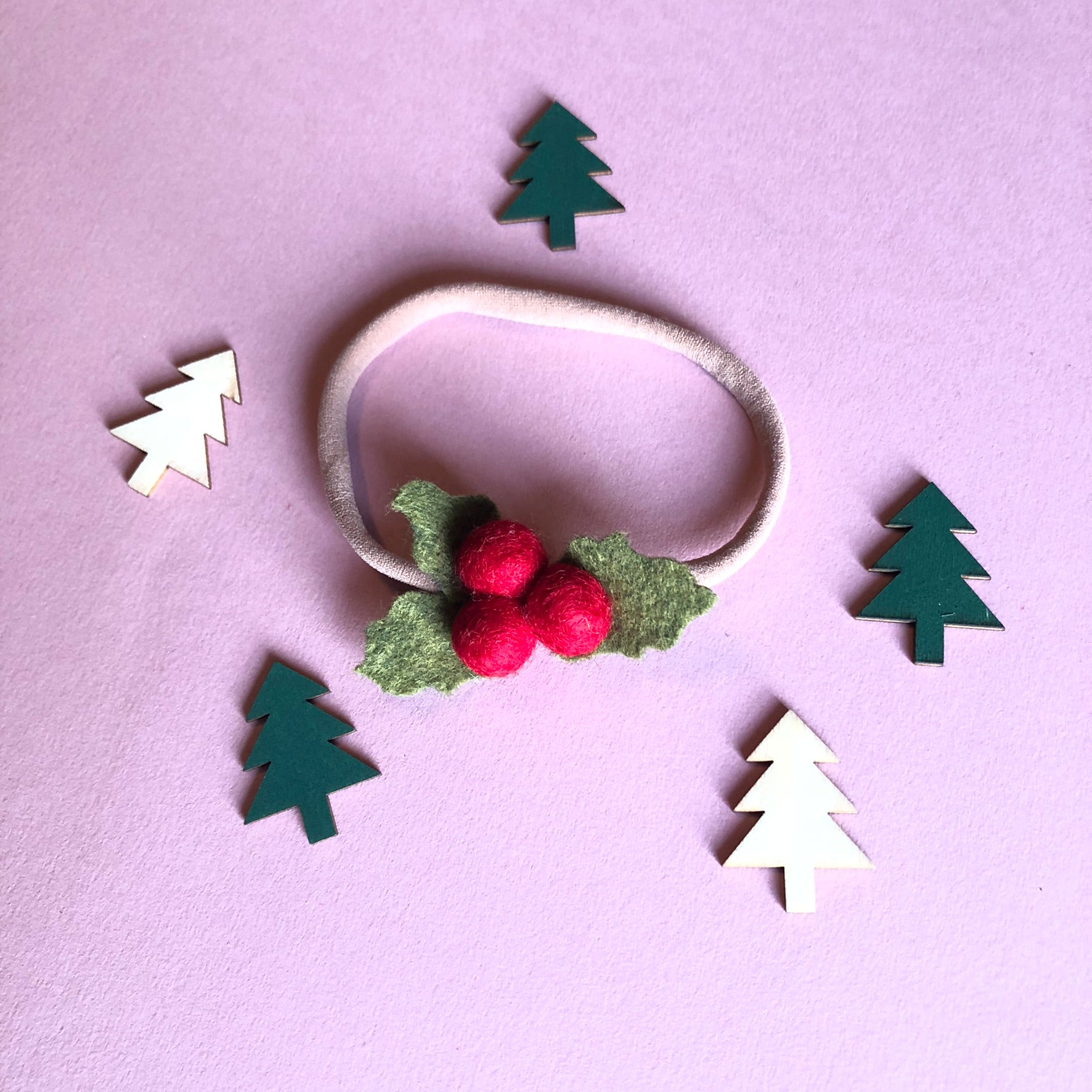 Merino wool felt handmade holly berry
