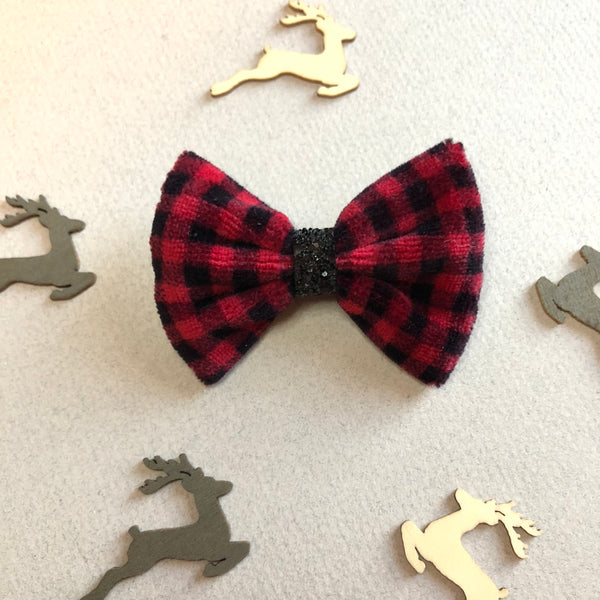 Vintage velvet Buffalo Plaid Bow - 3 inch