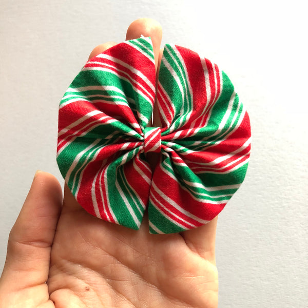 Red and green stripe bow - Amelia bow 3.5 inch