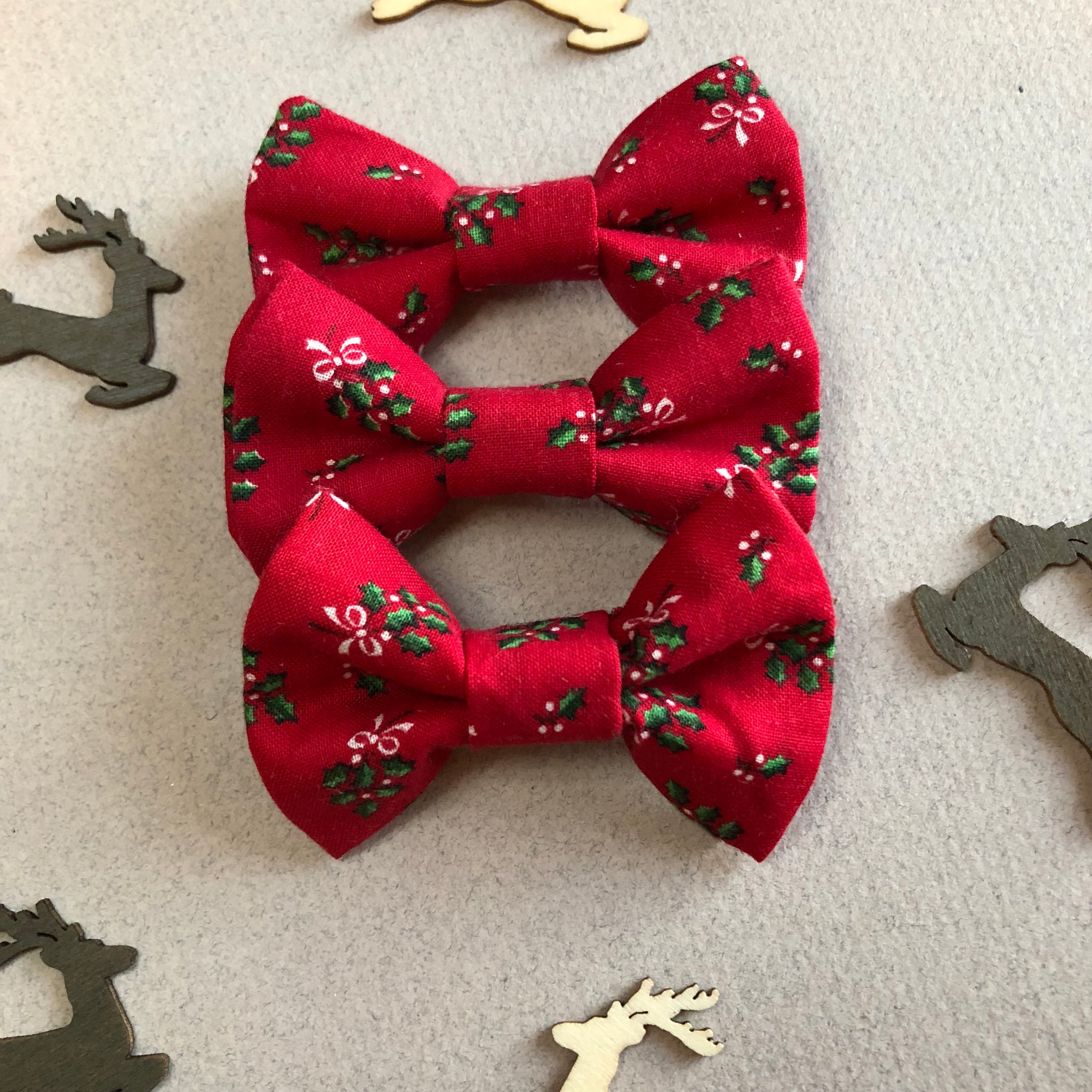 Vintage red poinsettia double layer bow ties