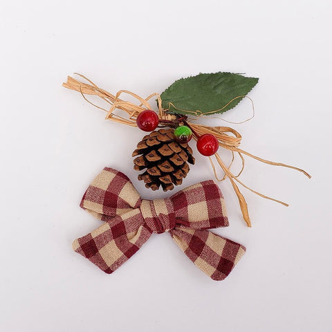 Wine colored plaid Elloise bow - 3 inch