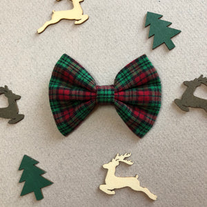 Red green black plaid bow - 3 inch