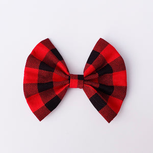 Red plaid fan bow - 3.5 inch