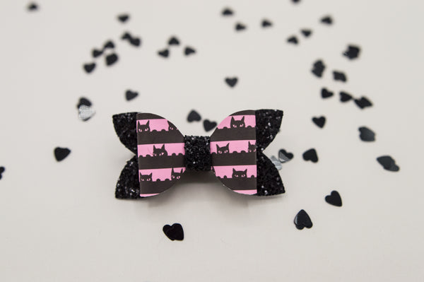 Pink and black cat stripes Zoe Bow - Ag2