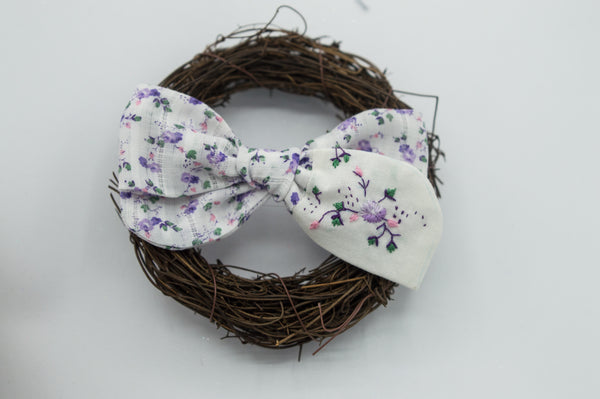 Vintage purple floral River bow w/ embroidery - CSS2