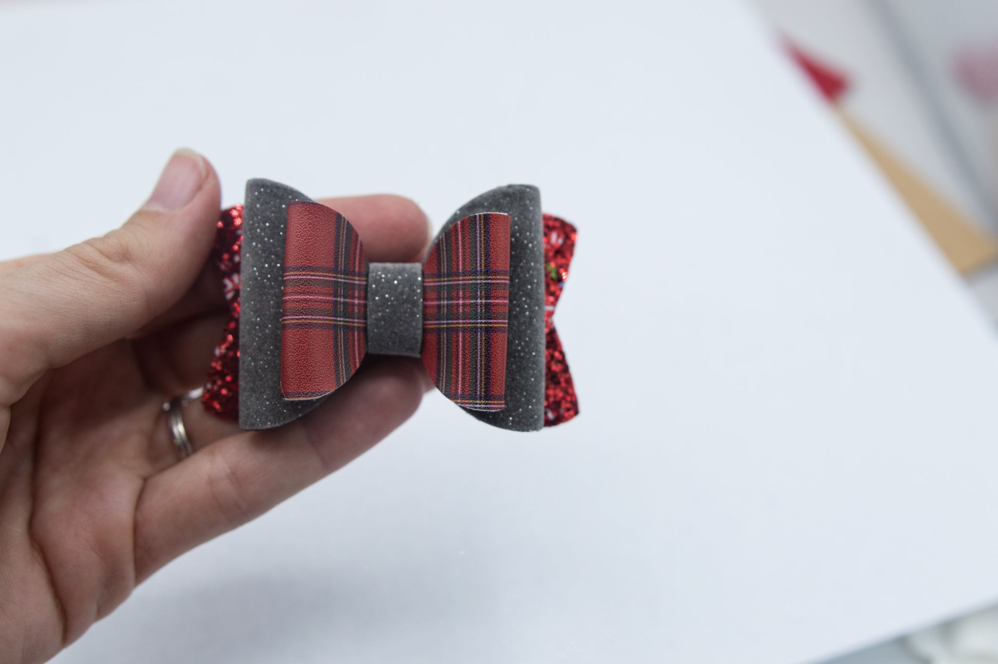 Red plaid Quinnlee bow - O Holy Night