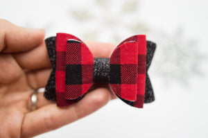 Christmas buffalo plaid Quinnlee bow - O Holy Night