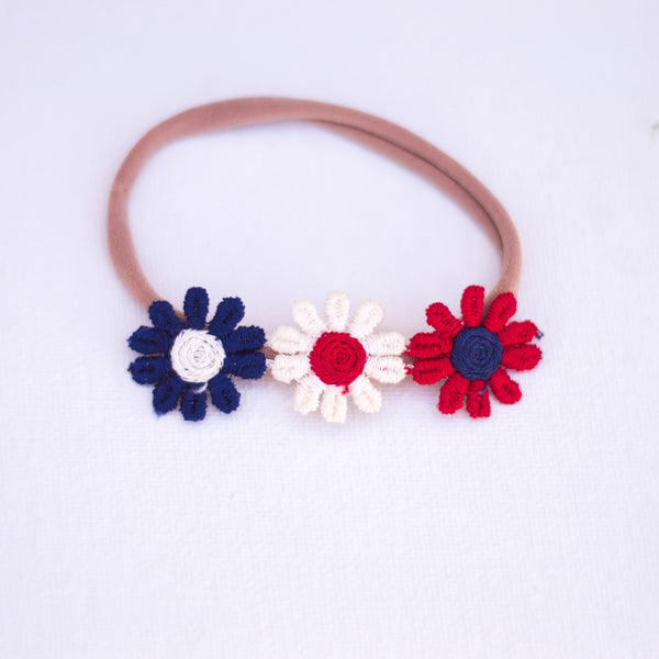 Vintage floral , red white and blue lace