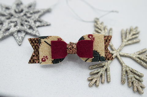 Vintage berry double Mila bow - O Holy Night