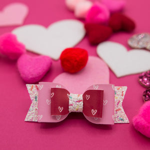 Pink & Red mini hearts Double Mila Bow - LOA