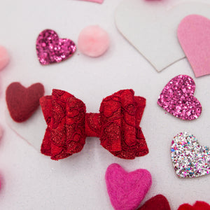 Red glitter lace Quinnlee Bow - LOA