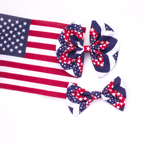 Chevron stars and stripes bow