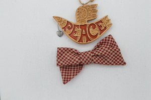 Vintage red plaid River bow - O Holy Night