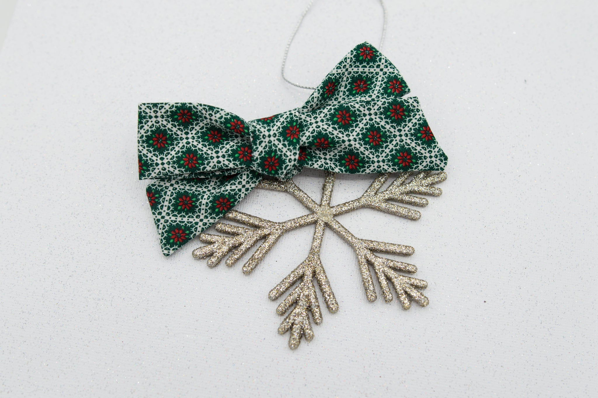 Vintage poinsettia River bow - O Holy Night