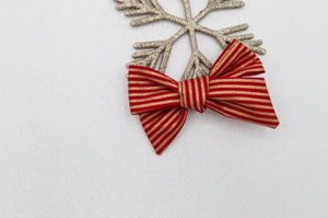 Red gold stripe vintage Elloise bow - O Holy Night