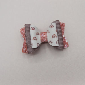 Neutral Rainbow Shimmer Quinnlee Bow - 3 inch approx - VLC
