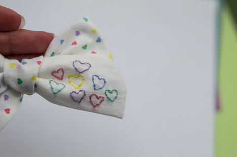 OOAK Embroidered Hearts bow hoc