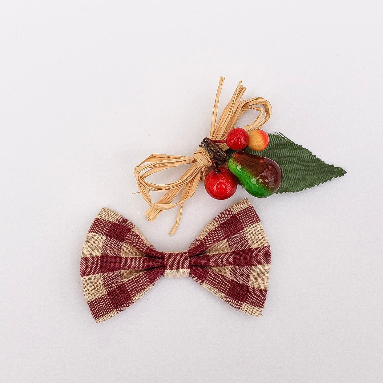Wine colored plaid bow tie - 3 .5inch