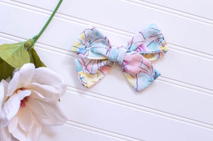 Blue & Lavender Watercolor / vintage River bow