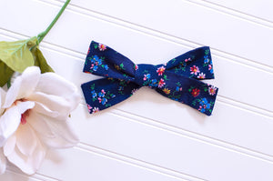 Tiny Flowers on Blue Vintage River Bow 5 inch