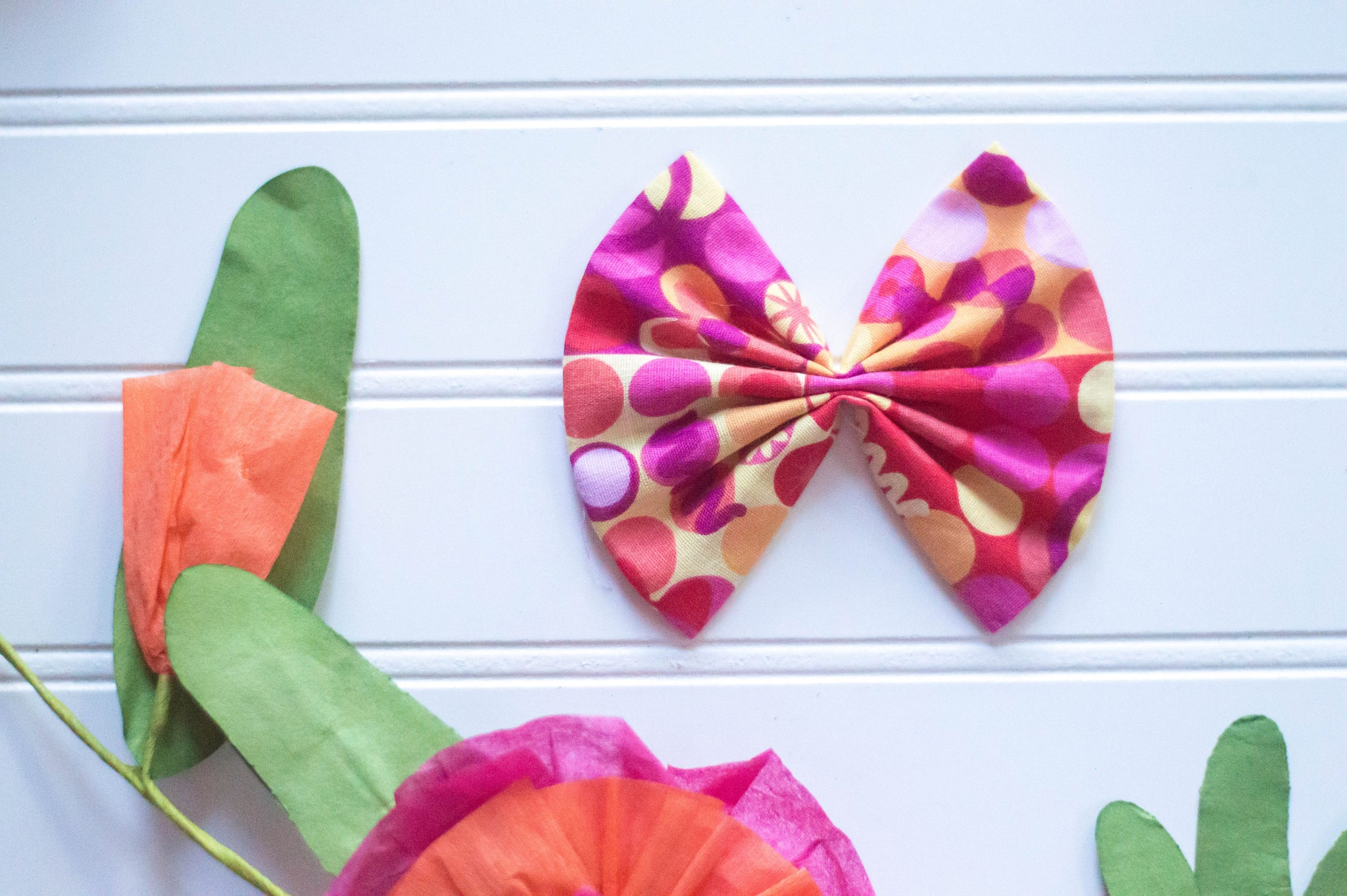 Pink & orange dots 4 inch Cotton Bow