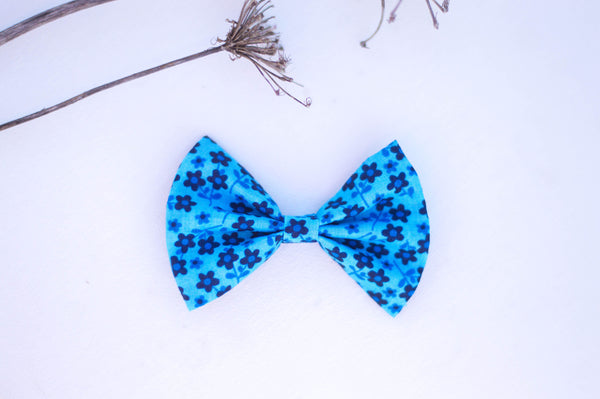 Bright blue floral Cotton Bow - 3 inch bow