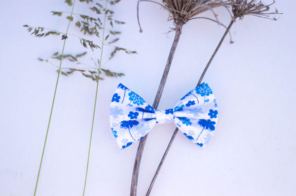 blue tiny flowers white cotton bow tie shaped bow