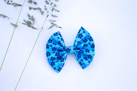 Bright blue tiny floral 3 inch bow