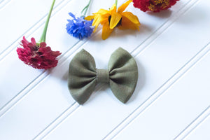 Olive soft denim Cotton Bow / 3 inch