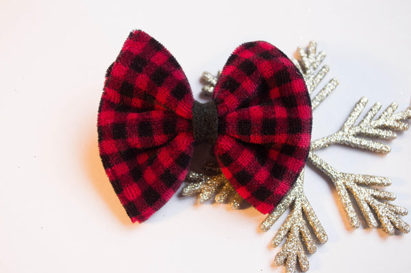 Vintage velvet Buffalo Plaid Bow 3 inch fan