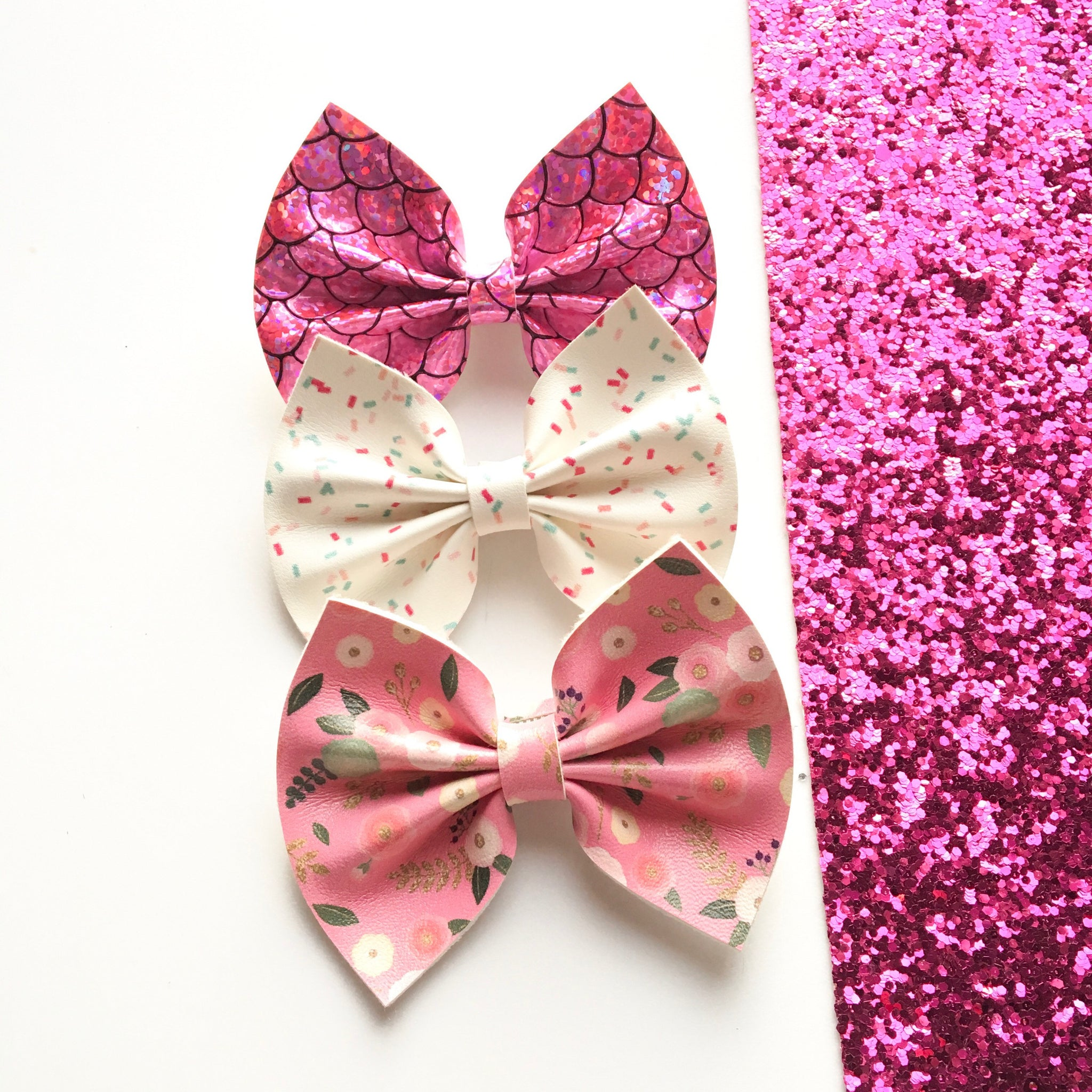 Faux leather bows / mermaid