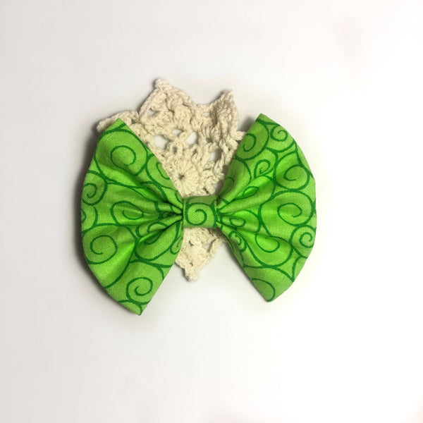 vintage green swirl bow or bow tie