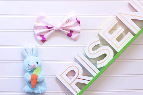 Easter bunnies large bows // 5 inch bows // organic high end designer cotton
