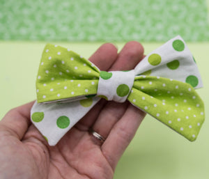 Vintage green dots & white dots River Bow - MTL