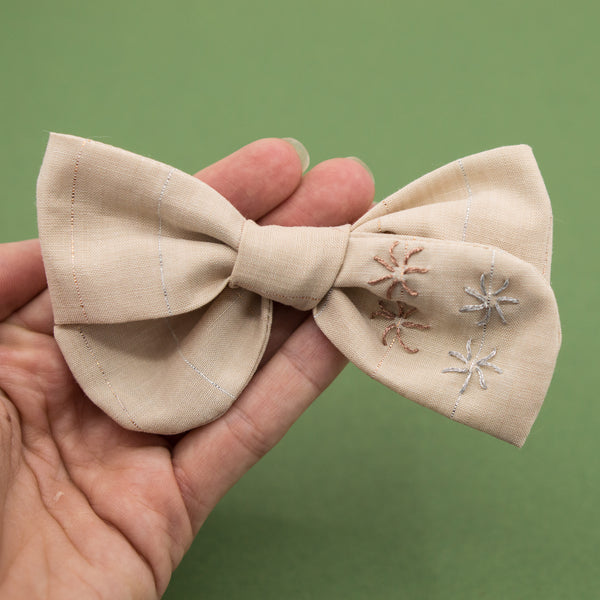OOAK Embroidered 4 shimmers bow hoc