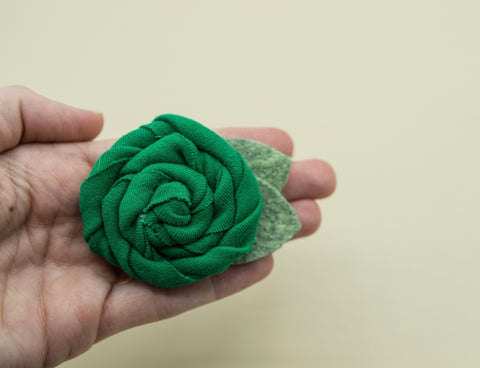 Vintage green cotton rose - 3 inch- MTL