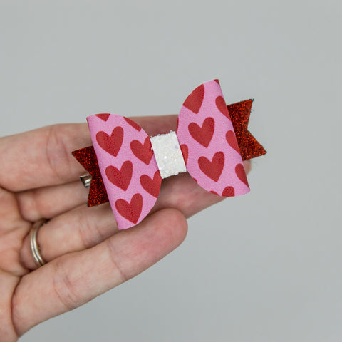 Pink and red hearts Ember Bow - kind