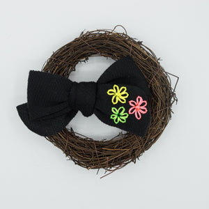 Black vintage River bow w/ 3 neon flower embroidery - CSS2