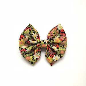 3 inch fall red green black floral bow