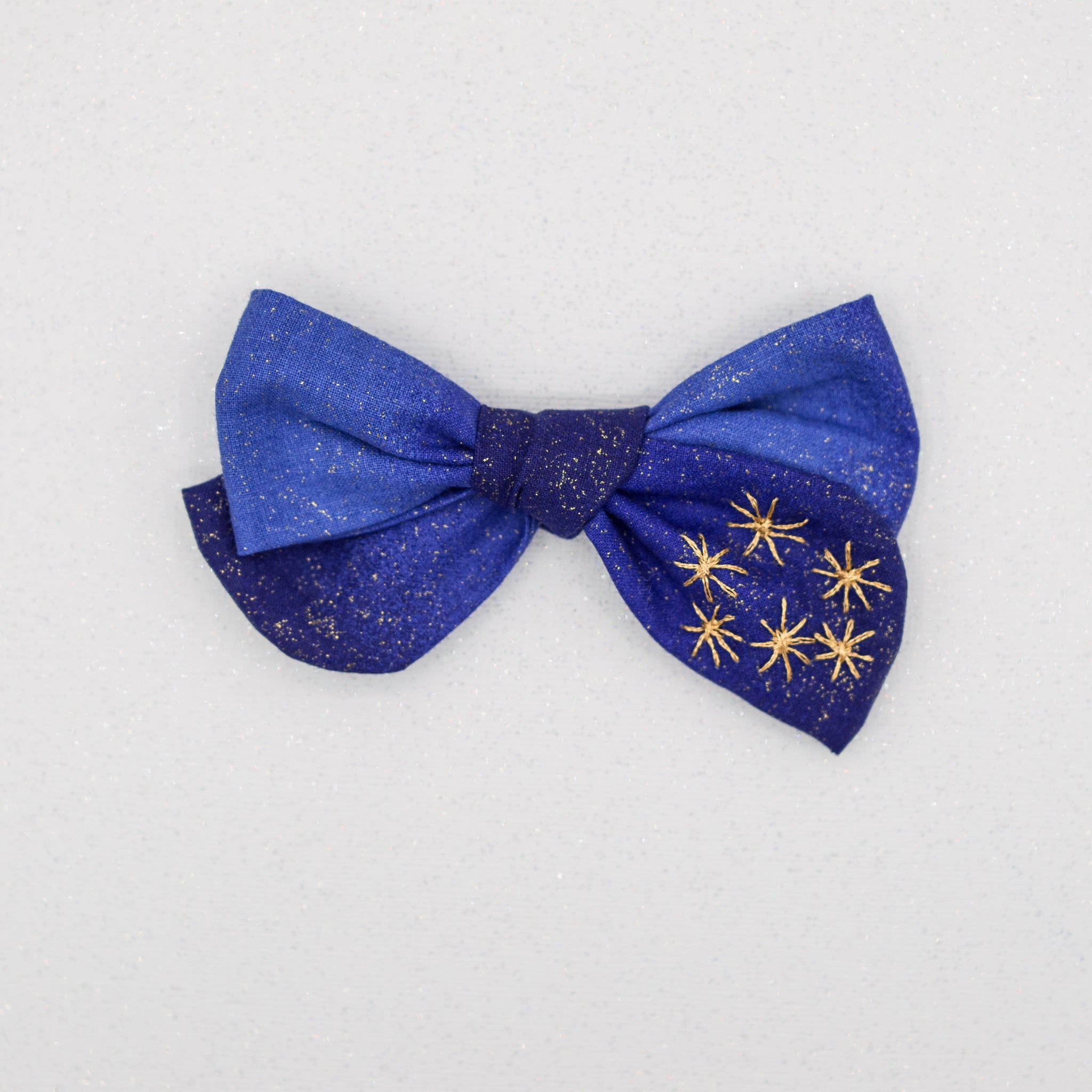Blue gold fireworks embroidered River bow- LFR