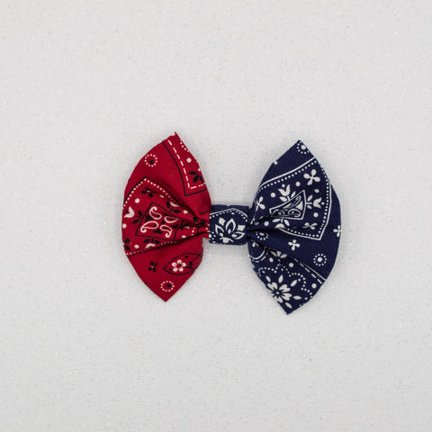 RED AND BLUE bandana -3 inch bow LFR