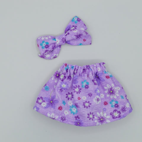 Vintage Purple Seersucker florals Skirt - ATD